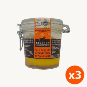 Lot de 3 bocaux 180g – Foie gras de canard entier IGP Sud-Ouest