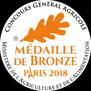 Médaille de Bronze 2018 au Concours général Agricole