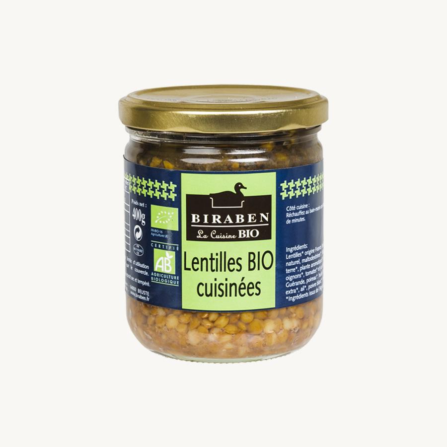 Biraben - Lentilles BIO cuisinées - bocal 400g