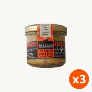 lot de 3 bocaux 90g de foie gras de canard entier IGP du Sud-ouest
